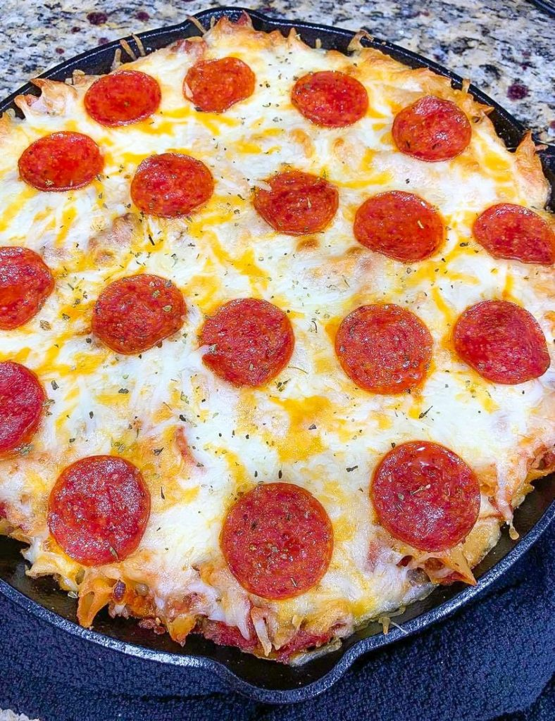 Pizza Pasta Casserole in Skillet
