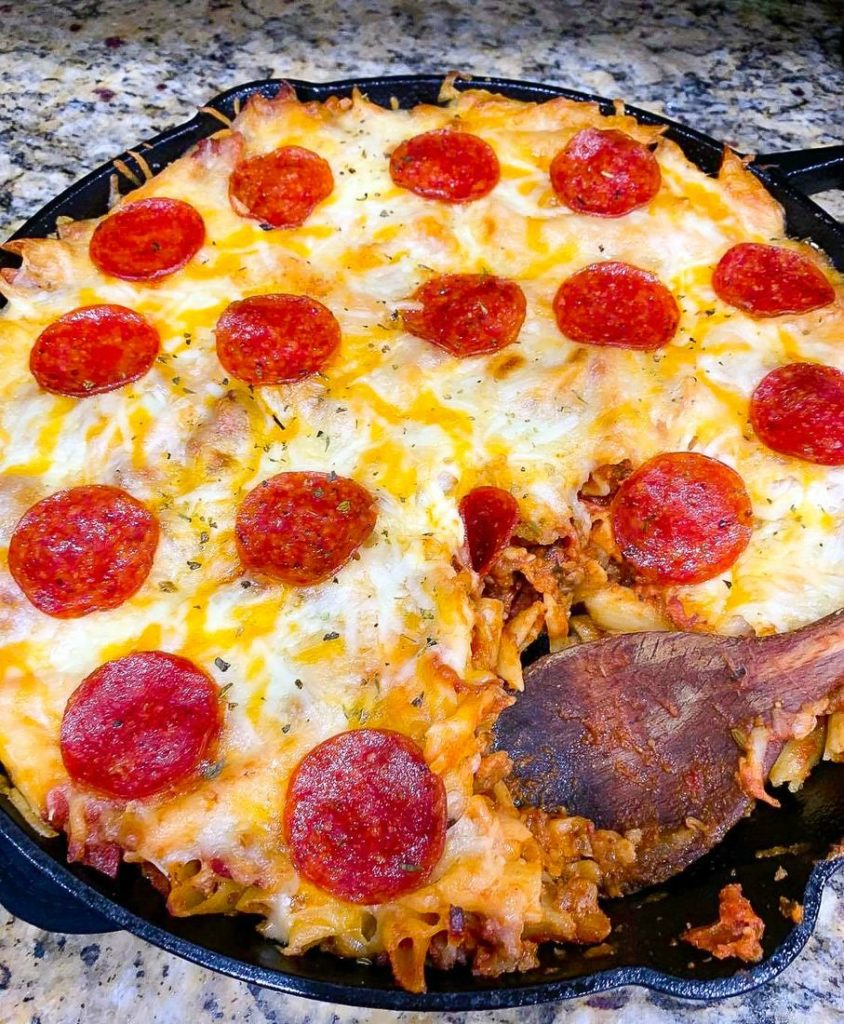 Pepperoni Pizza Pasta Casserole in Iron Skillet