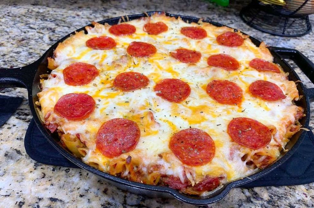 Pizza Pasta Pizza Casserole with Pepperoni