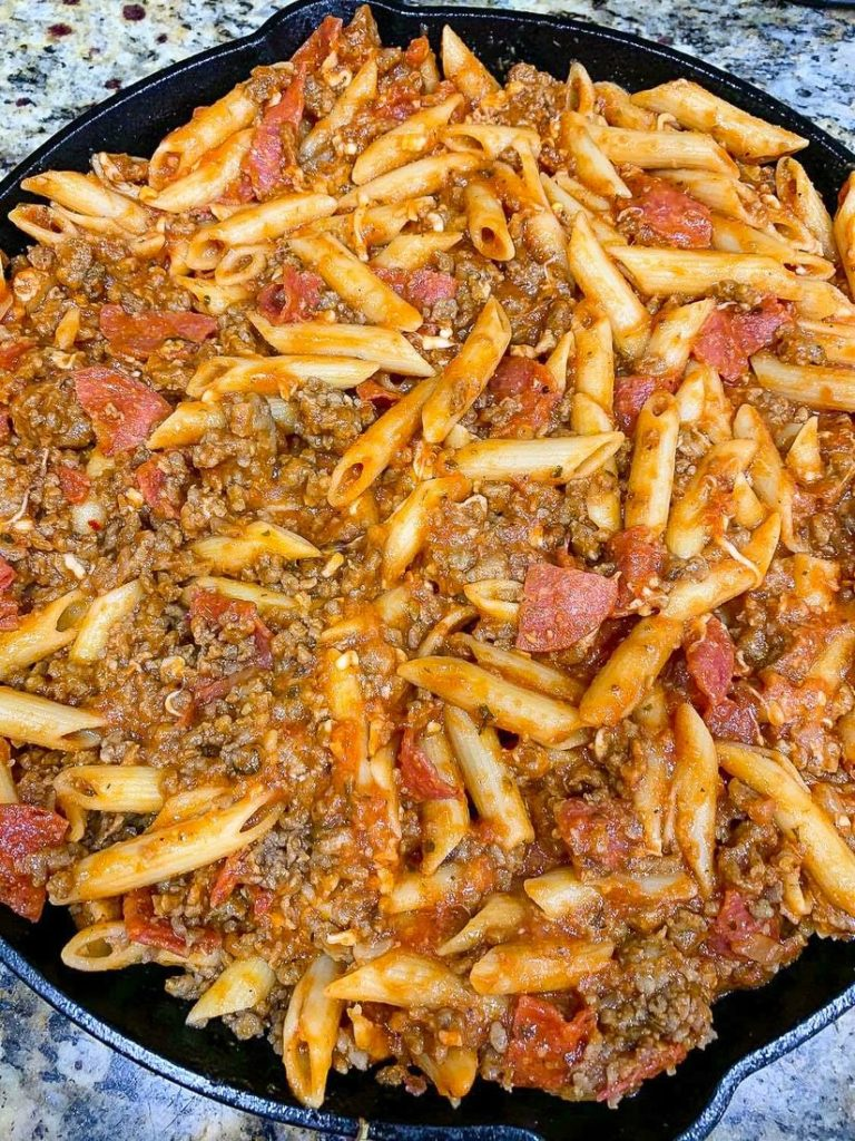 Pizza Pasta Casserole in an Iron Skillet