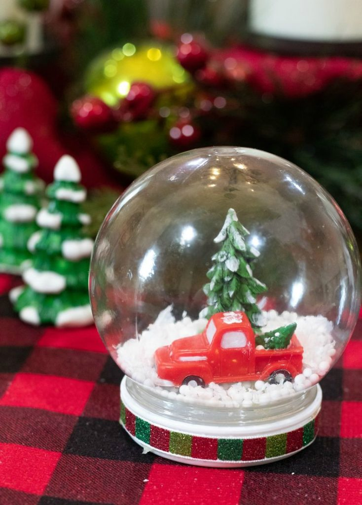 Waterless Snow Globe with Vintage Red Truck and Christmas Trees