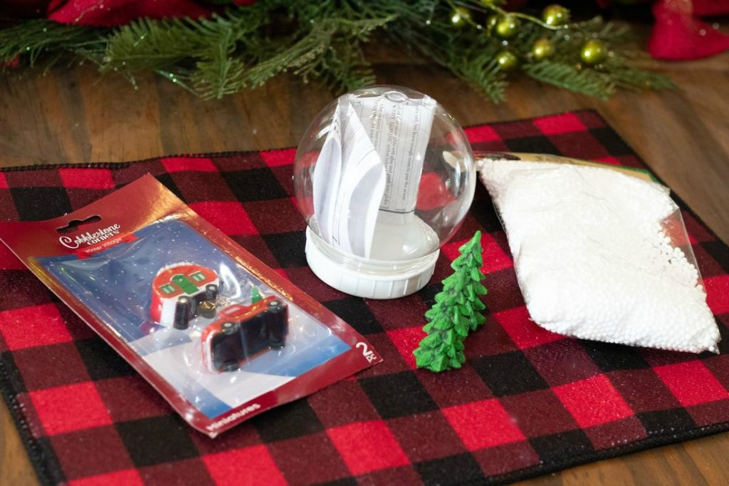Supplies for DIY Waterless Christmas Snow Globes
