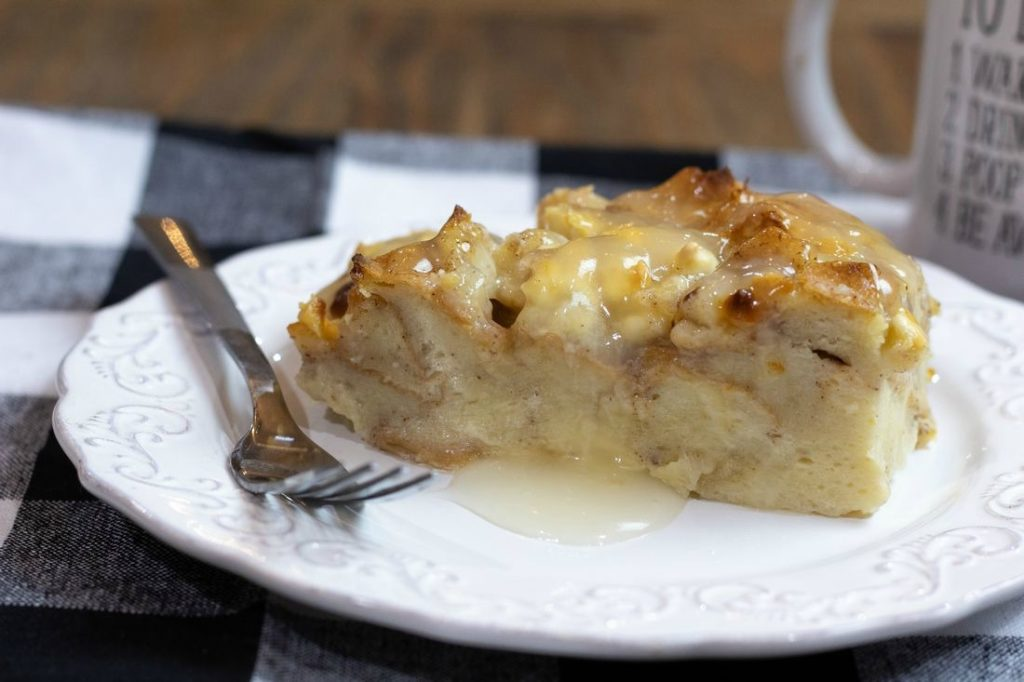 White Chocolate Bread Pudding with Rum Sauce
