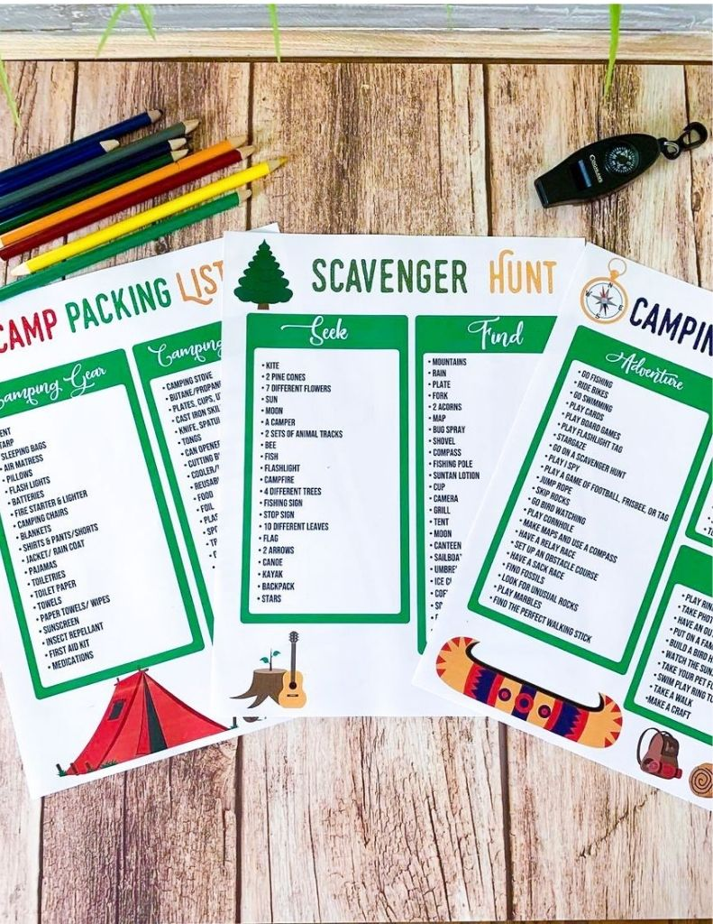 FREE Camping Printables (Camp Packing List, Scavenger Hunt, and Camping Activity List)