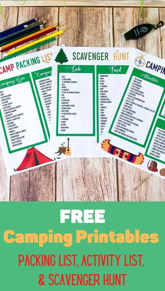 Free Camping Printables (Camp Packing List, Scavenger Hunt, and Camp Bucket List)