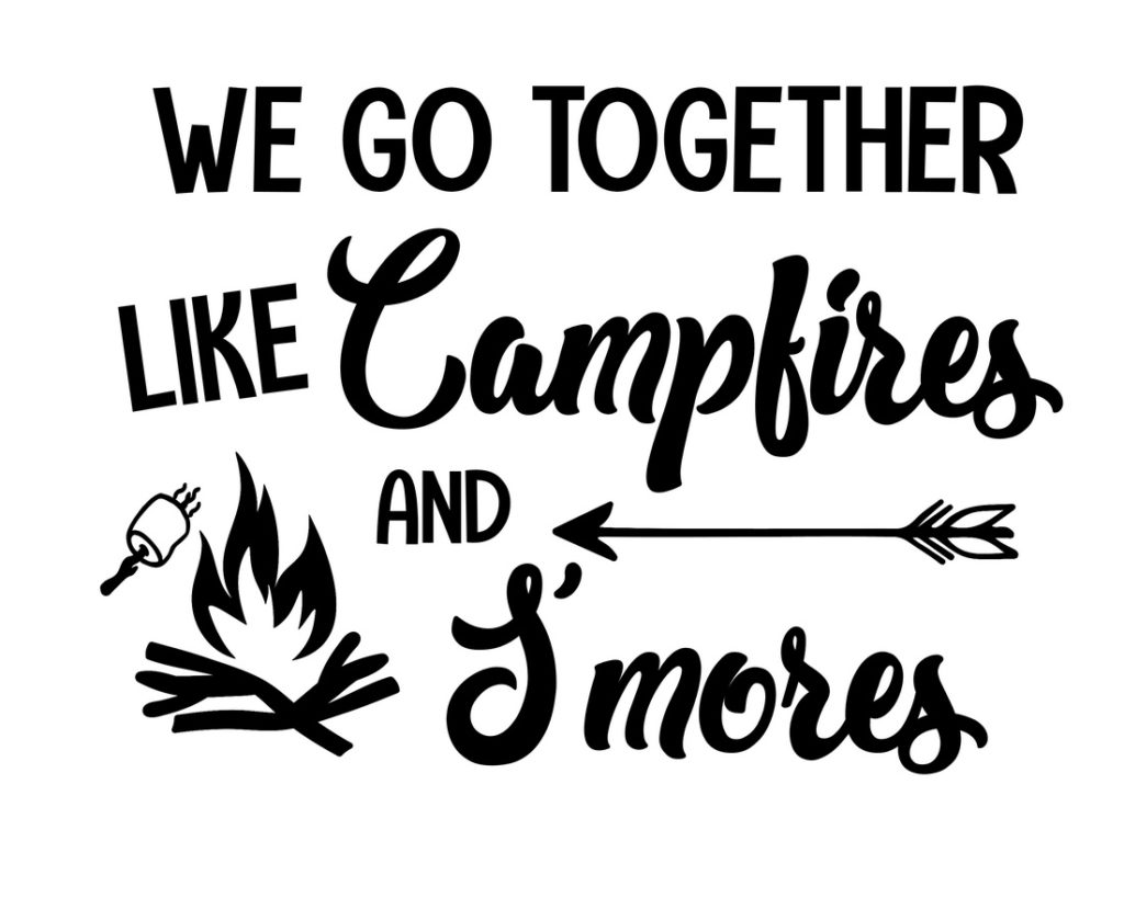 Free Printable Camping Décor Signs (Campfire S'mores Sign)