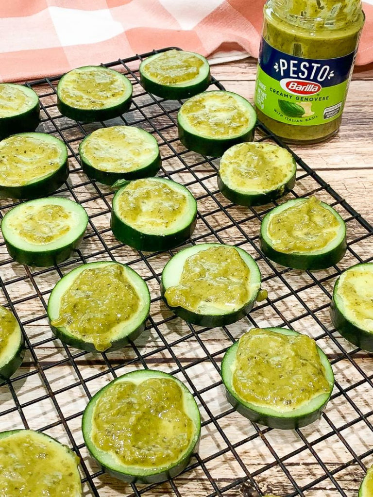Cucumber Slices with Pesto on Cooling Rack