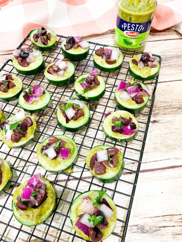 Cucumber Pesto Slices with Kalamata Olives and Red Onions