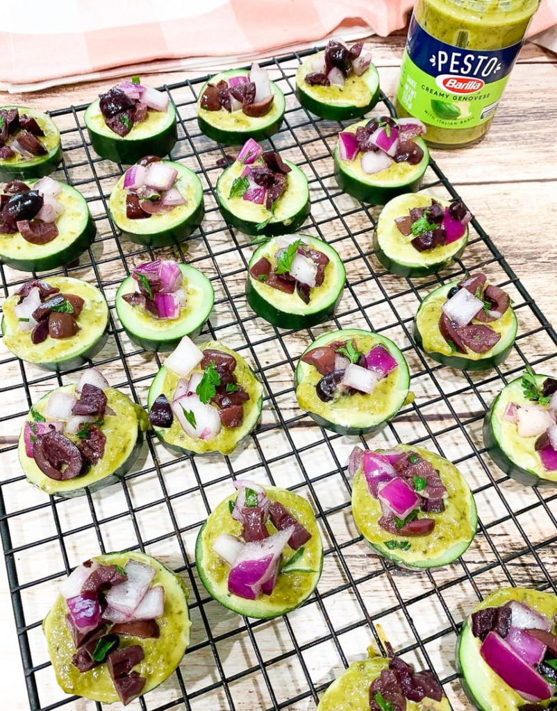 Grecian Cucumber Pesto Bites with Kalamata Olives and Red Onions