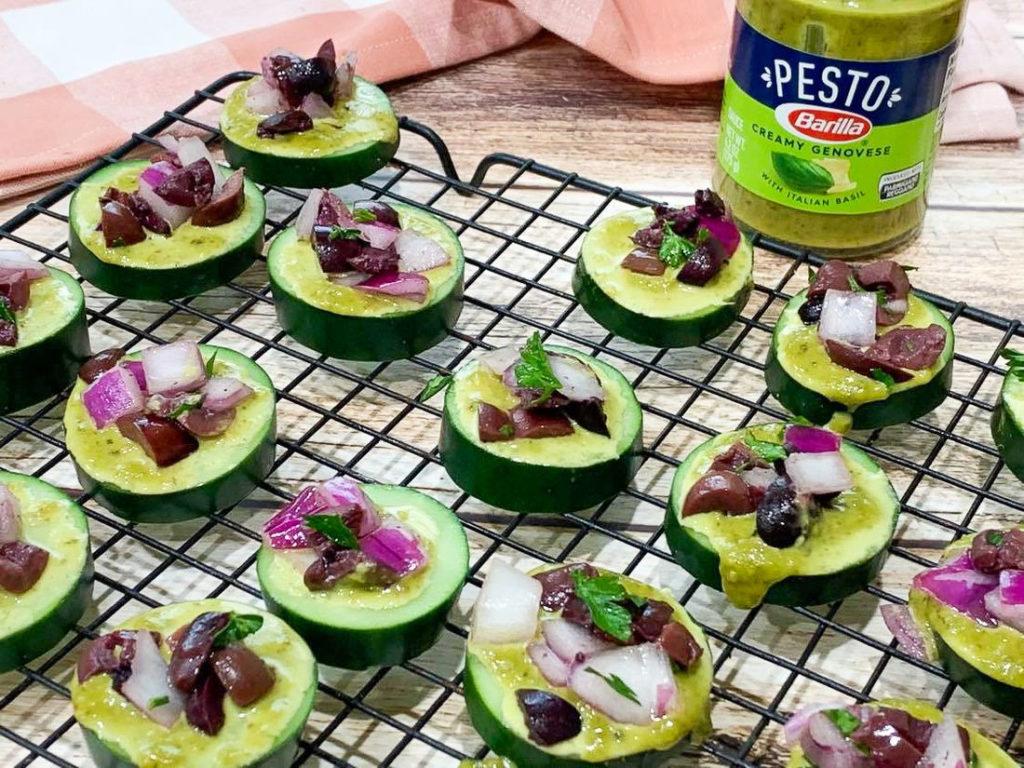 Grecian Cucumber Pesto Bites